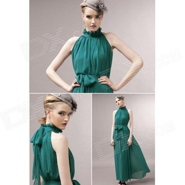 Cercado plissada Chiffon Maxi Vestido das mulheres - verde escuro (Tamanho grátis)