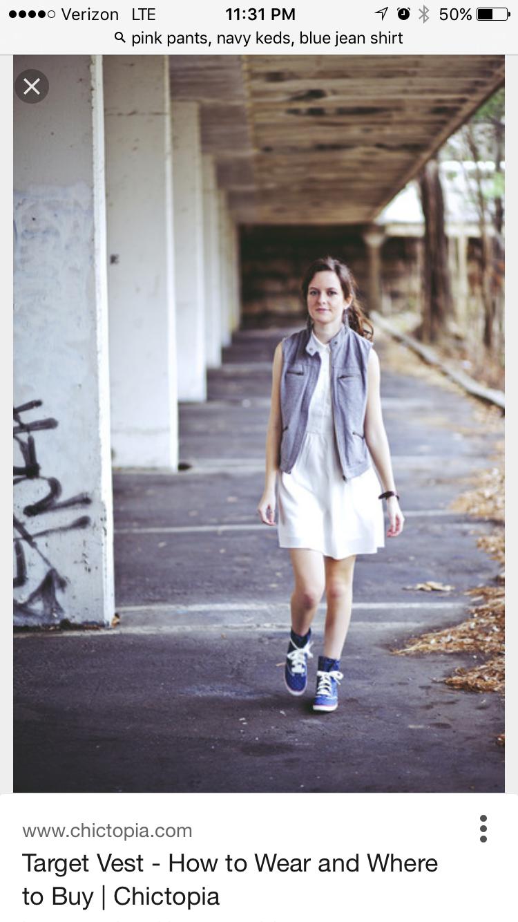 White dress, white short sleeved shirt, denim vest
