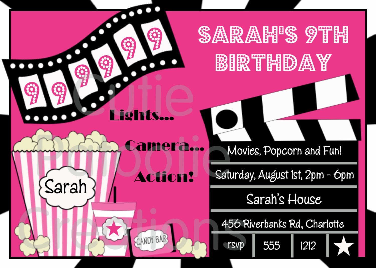 Movie Birthday Invitations Movie Night Birthday Party Invitation