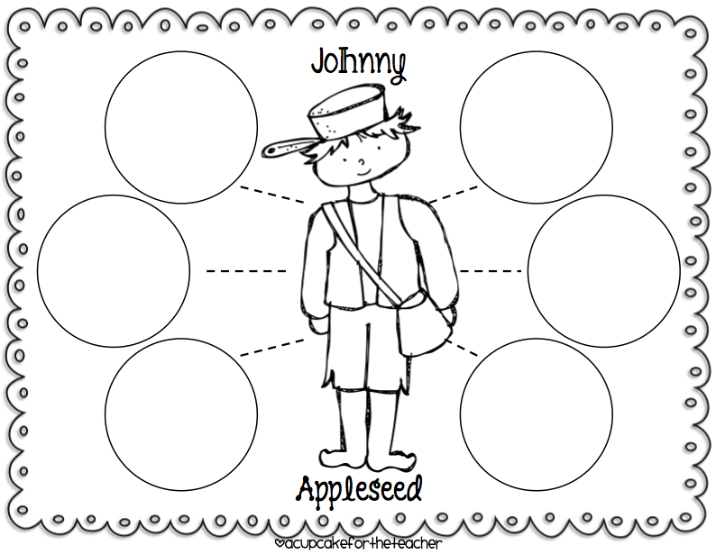 {A Cupcake for the Teacher Johnny Appleseed Craftivities – Johnny Appleseed Worksheets