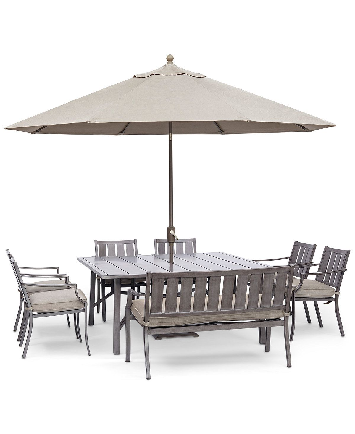 Furniture Wayland Outdoor Aluminum 8 Pc Dining Set 64 Square Dining Tables Square Patio Table Patio Furniture Patio dining sets with umbrella