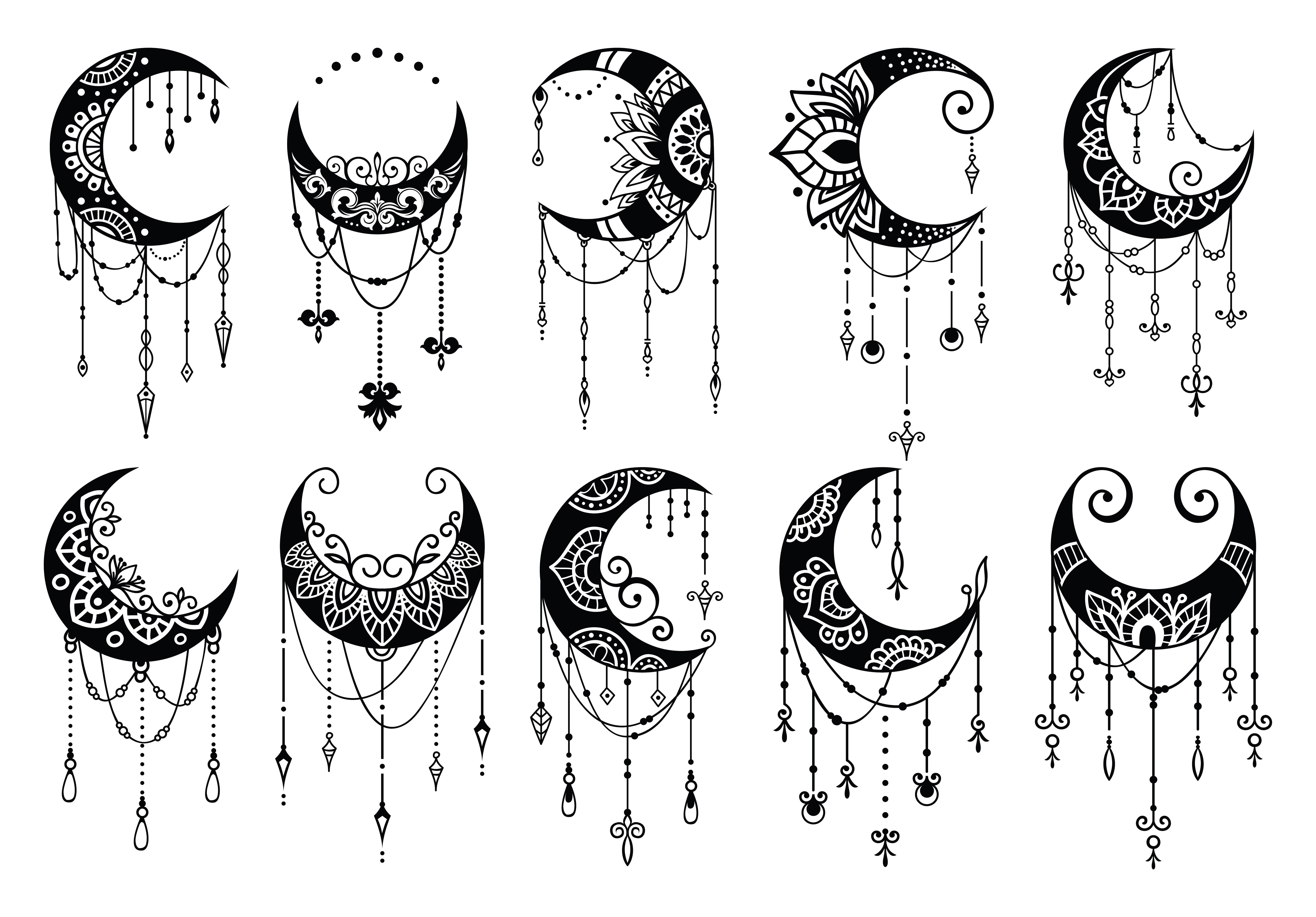 These Are High Quality Files That Are Ready To Print Or Use With Any Design Web Page Or Blog This Set In 2020 Moon Mandala Moon Decor Moon Tattoo