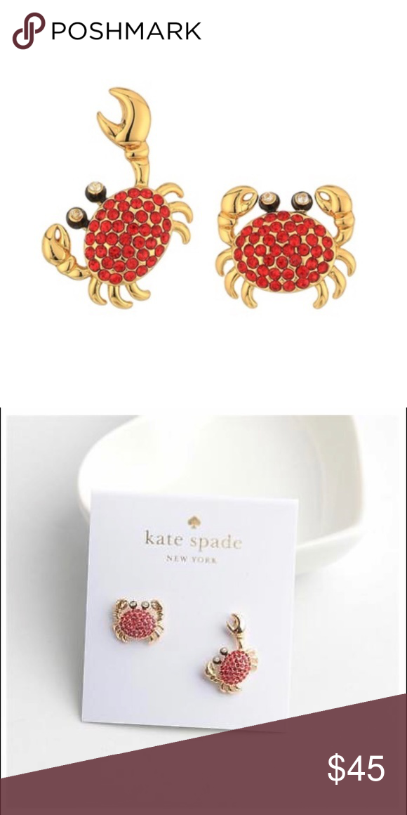 6e7143dc2ef00 Kate Spade Shore Thing Pave Crab Stud Earrings NWT Kate Spade Shore ...