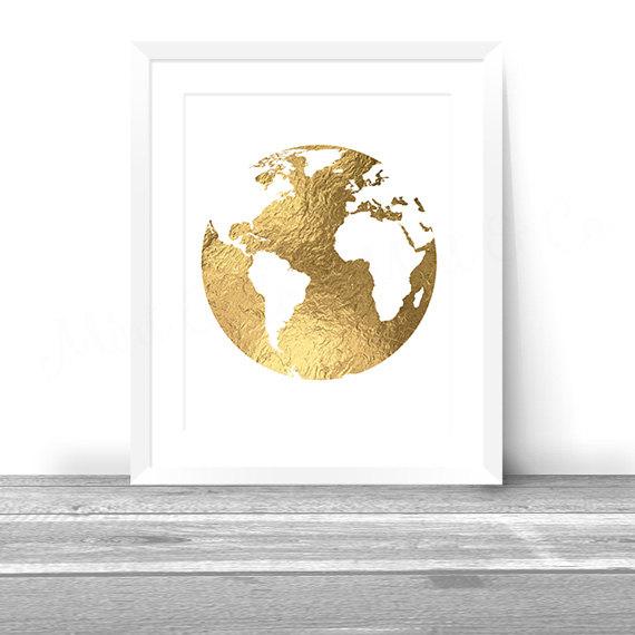 Golden globe gold foil world map printable wall art decor instant golden globe gold foil world map printable wall art decor instant download digital 8x10 print metallic map gold foil map gumiabroncs Choice Image