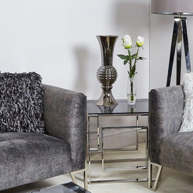 Smoked Glass Vase 55cm Living Room On A Budget Stylish Living