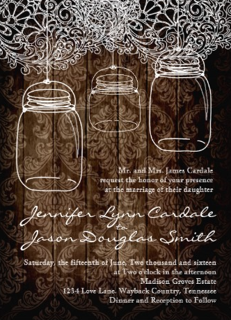 Rustic Country Mason Jar Lace Barn Wood Wedding Invitations With A Dark Background Faded Damask Print