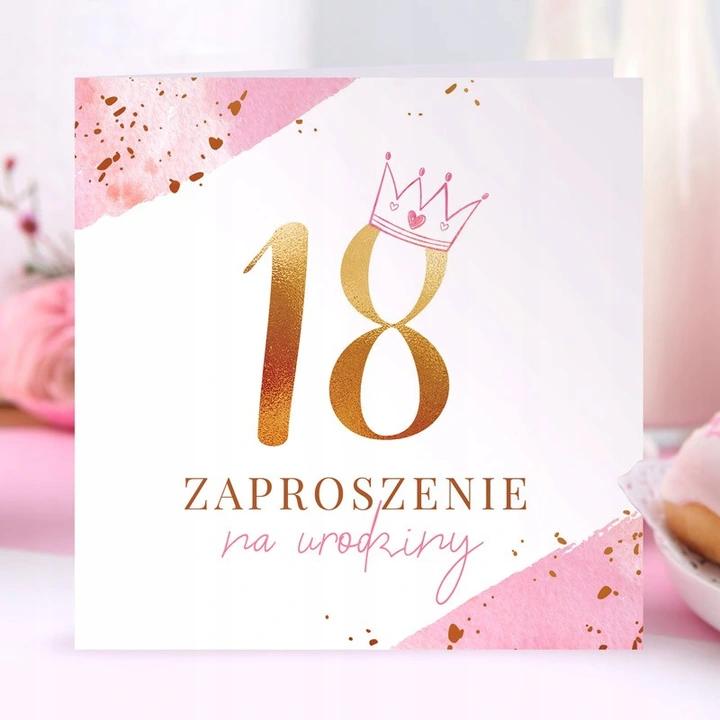 Zaproszenia Na 18 Urodziny Z Korona Pink 10szt Cards Place Card Holders Place Cards
