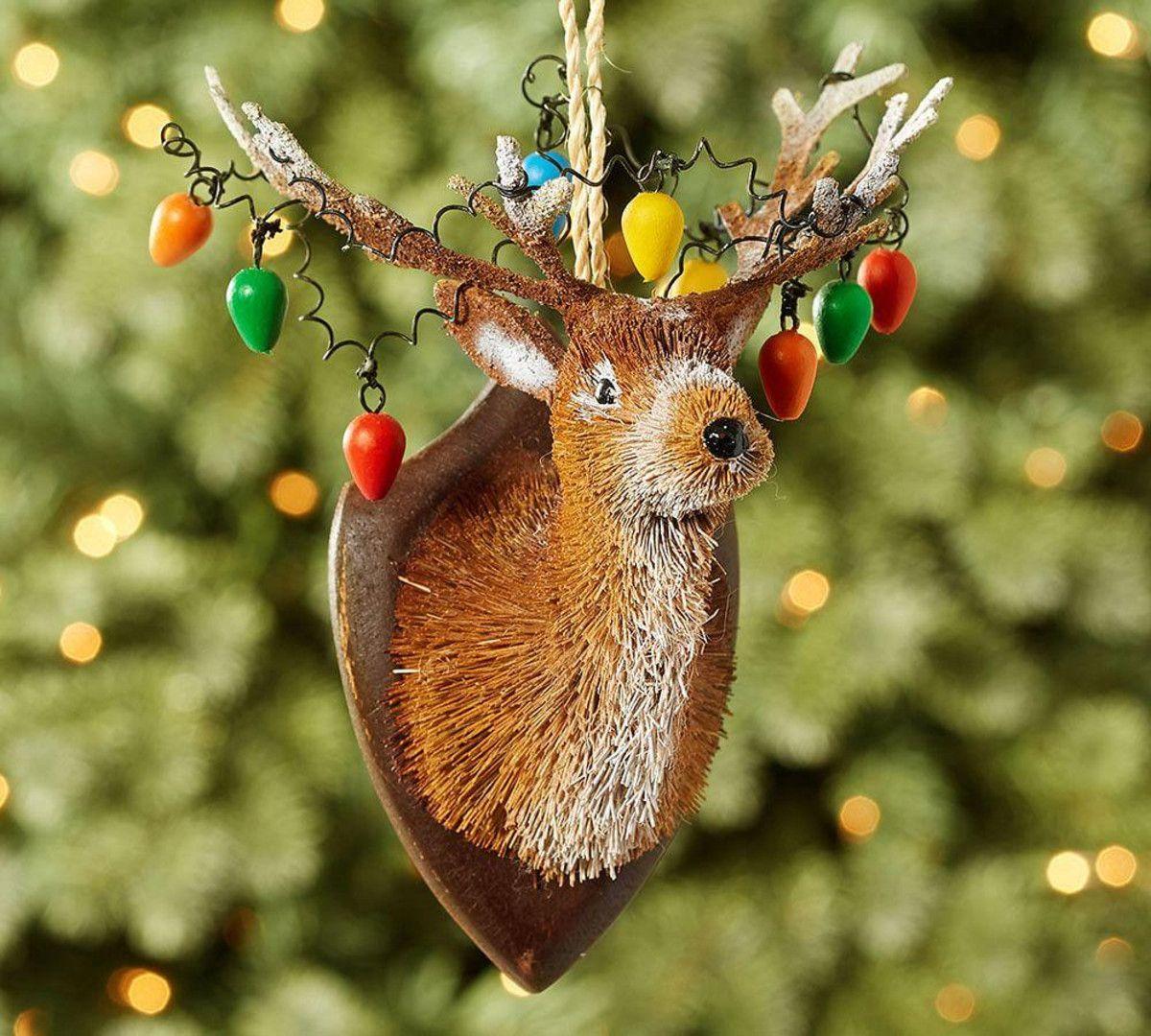 Bottle Brush Tangled Reindeer Ornament 2016 Pottery Barn