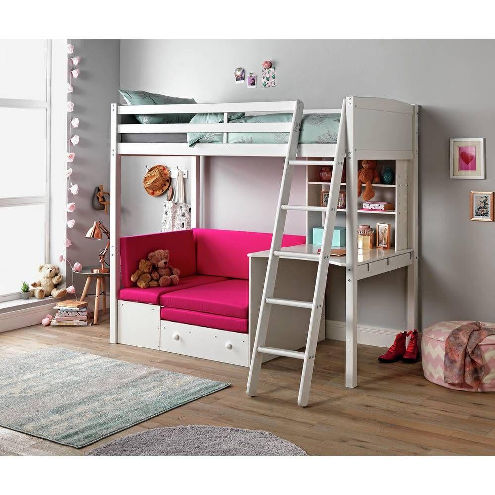 Home Clic White High Sleeper Bed Fuchsia Sofa