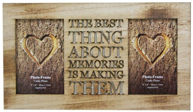 4 X 6 Rustic Double Worded Wooden Memories Photo Picture Frame ...
