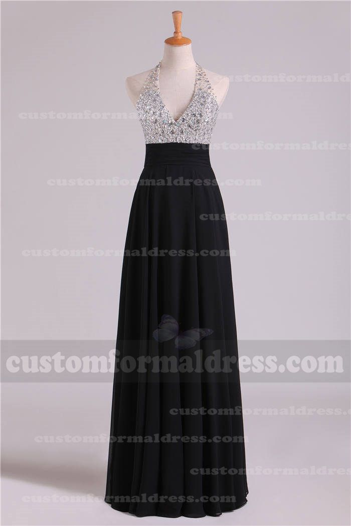 Halter Neck Long Black Sequin Prom Dresses Open Back LOXF171   long ...