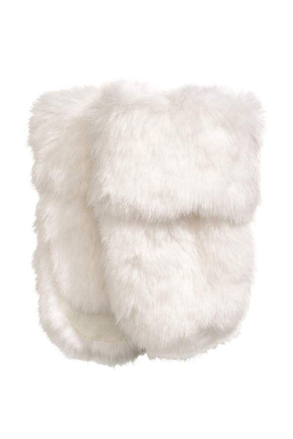 3f61674a8 H & M - Faux Fur Mittens - White - Kids #mittens#fur#Faux   Home ...