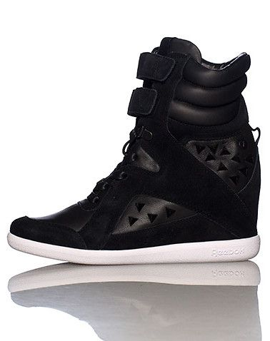 69f9987f5c1 REEBOK Alicia Keys High top women s wedge sneaker Lace up closure with double  velcro straps Cushioned inner sole for comfort. True to size.