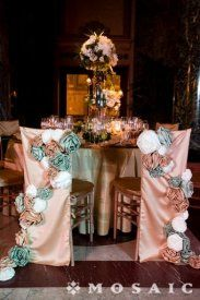 Bride and Groom Chair Covers used at the Carnegie Museum in Pittsburgh! partymosaic.com