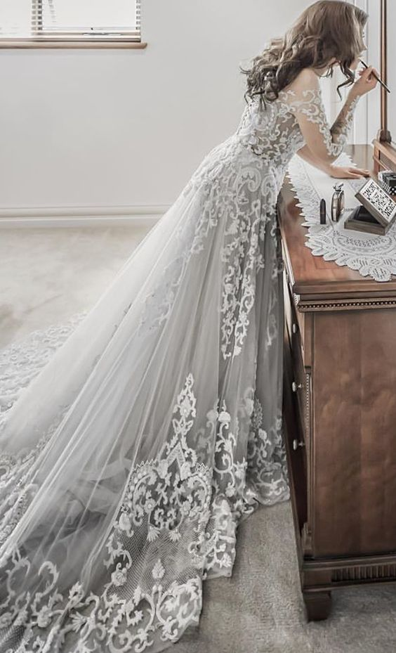 Embroidered Long-Sleeve Grey Undertone Wedding Dress | Wedding ...
