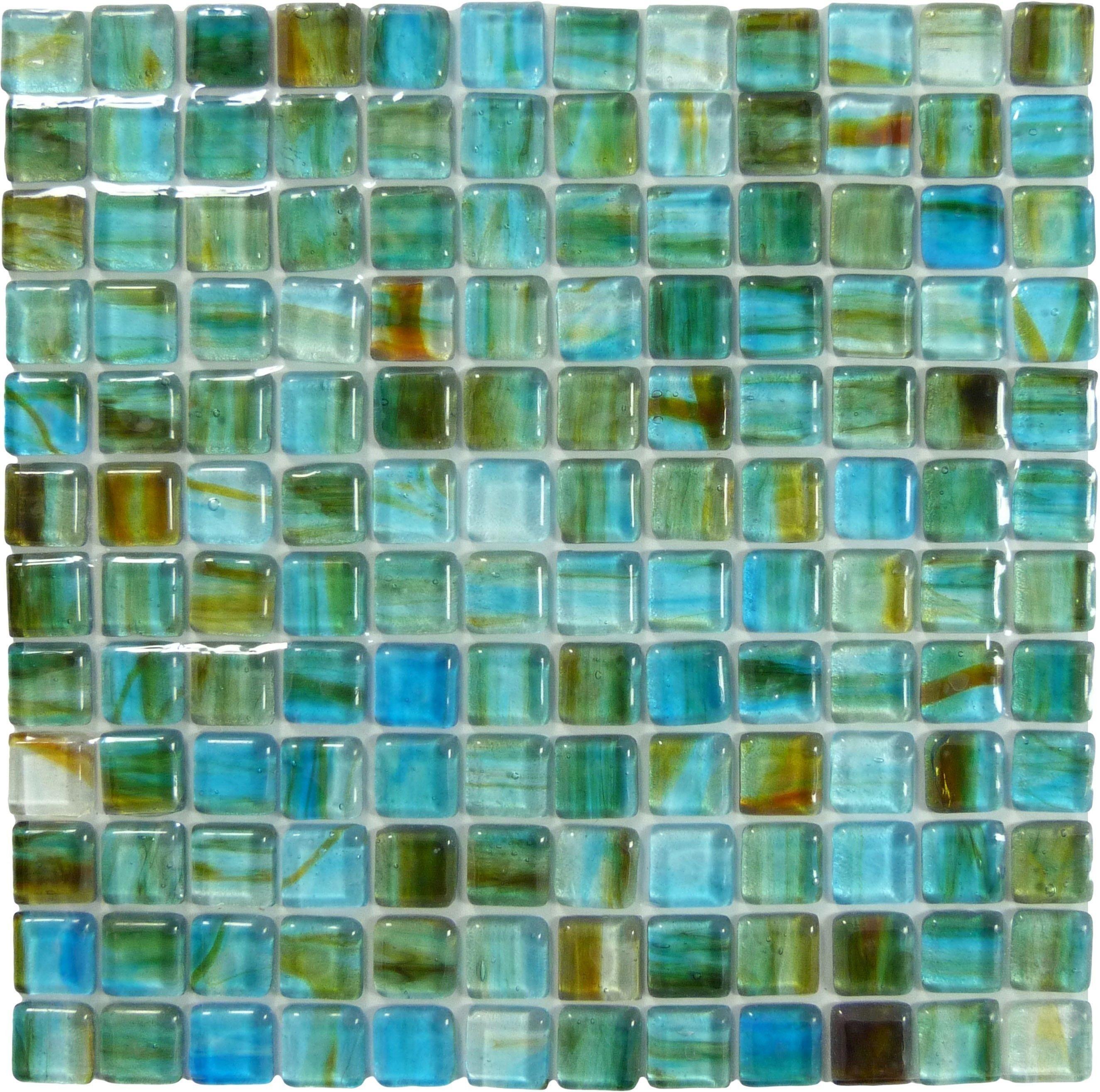 Hirsch 1 X 1 Blue Glass Square Tile Glossy Sf0270 Sea Glass Tile Glass Tile Colored Glass Tile