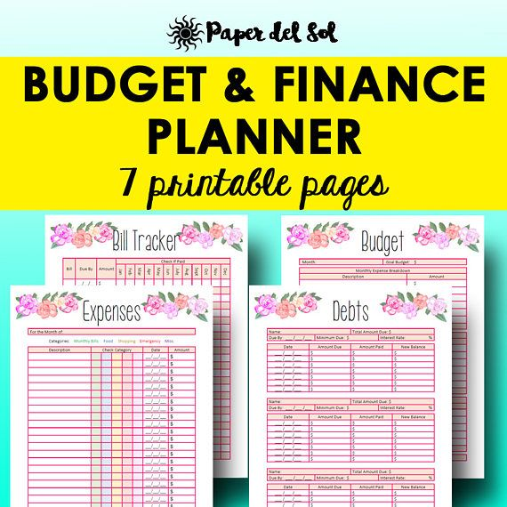 Monthly Budget Planner Book Finance Planner Worksheets Personal