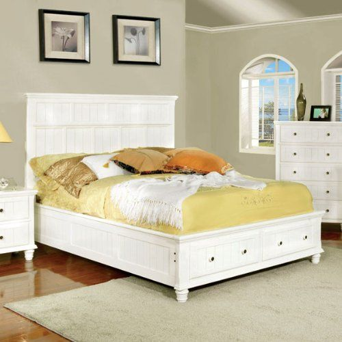 Queen Size Willow Creek Cottage Style White Finish Bed Frame Set