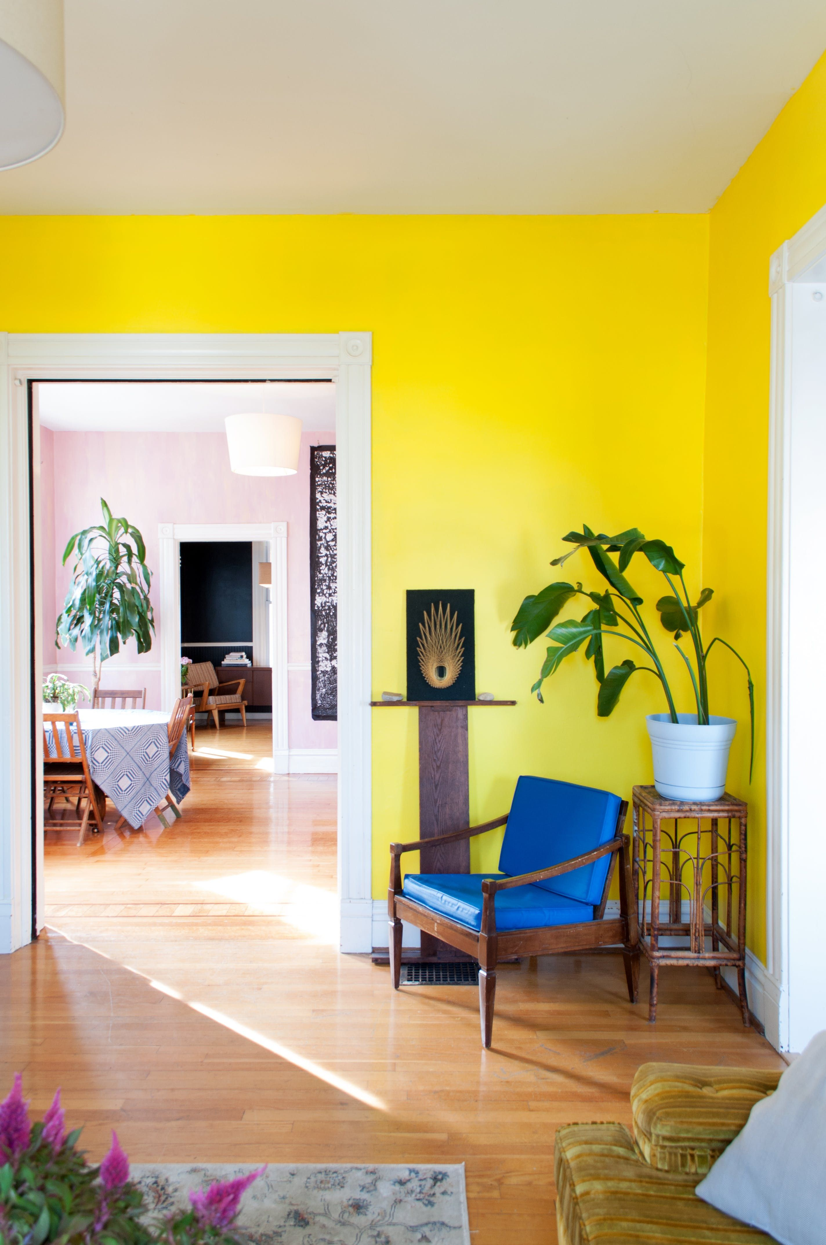 Pin On Interior Design Yellow background living room
