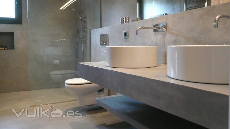 Cemento pulido for the home ba o microcemento for Cera de hormigon para azulejos de bano