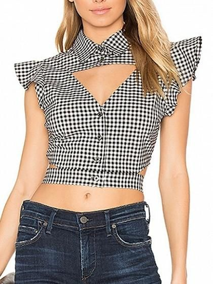 black checkered ruffle sleeve cut out crop top cute