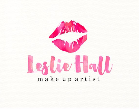lips logo make up watercolor premade logo design logo