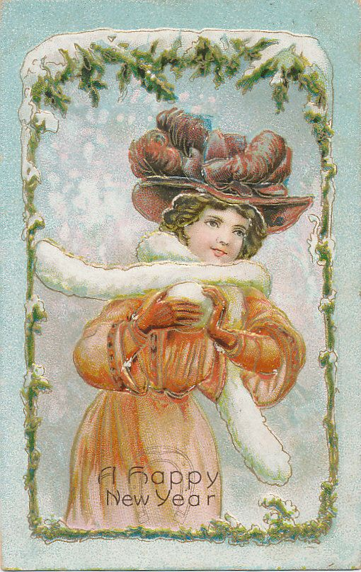 B7037 1909 Postcard New Years Greeting Beautiful Cute Victorian Girl | eBay