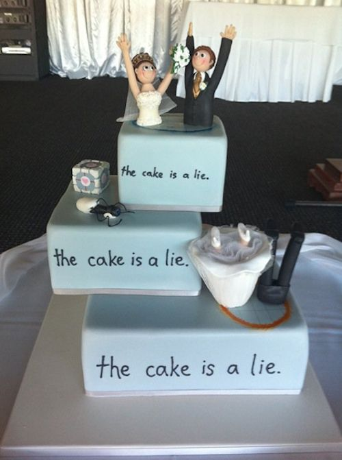 Portal wedding cake.....Anthony thinks this is the best cake EVER!! lol gotta love the game, Portal!!