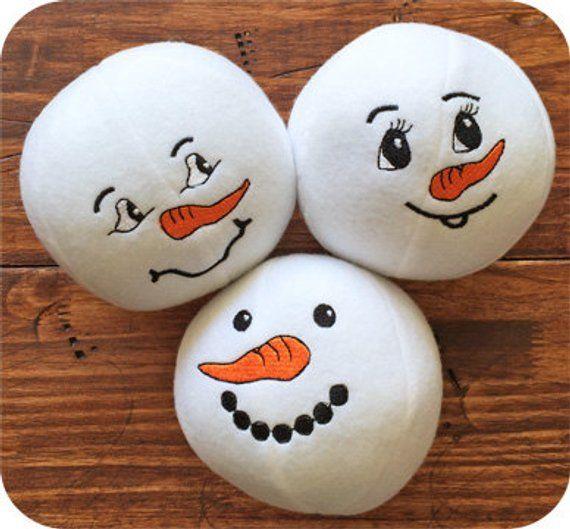 Snowman Snowballs Set 3 Machine Embroidery Design Files Instant Download
