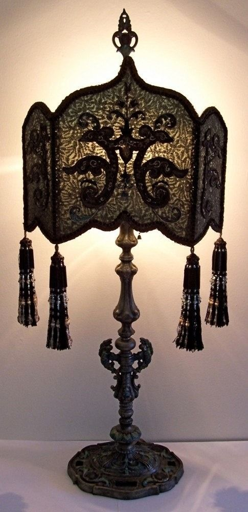 gothic victorian lamp my haunted mansion pinterest gothic shape of the shade victorian gothic peacock shield table lamp by peacockgypsy aloadofball Image collections