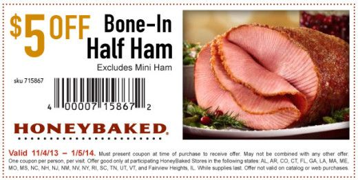 image about Honey Baked Ham Printable Coupons identified as HoneyBaked A number of discount codes Legitimate till 1/5/14 Specialty