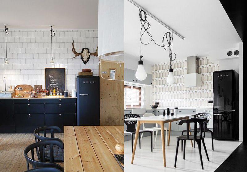 frigo smeg noir french cc cuisine room home decor et. Black Bedroom Furniture Sets. Home Design Ideas