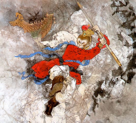 Image result for the monkey king under the mountain ancient painting