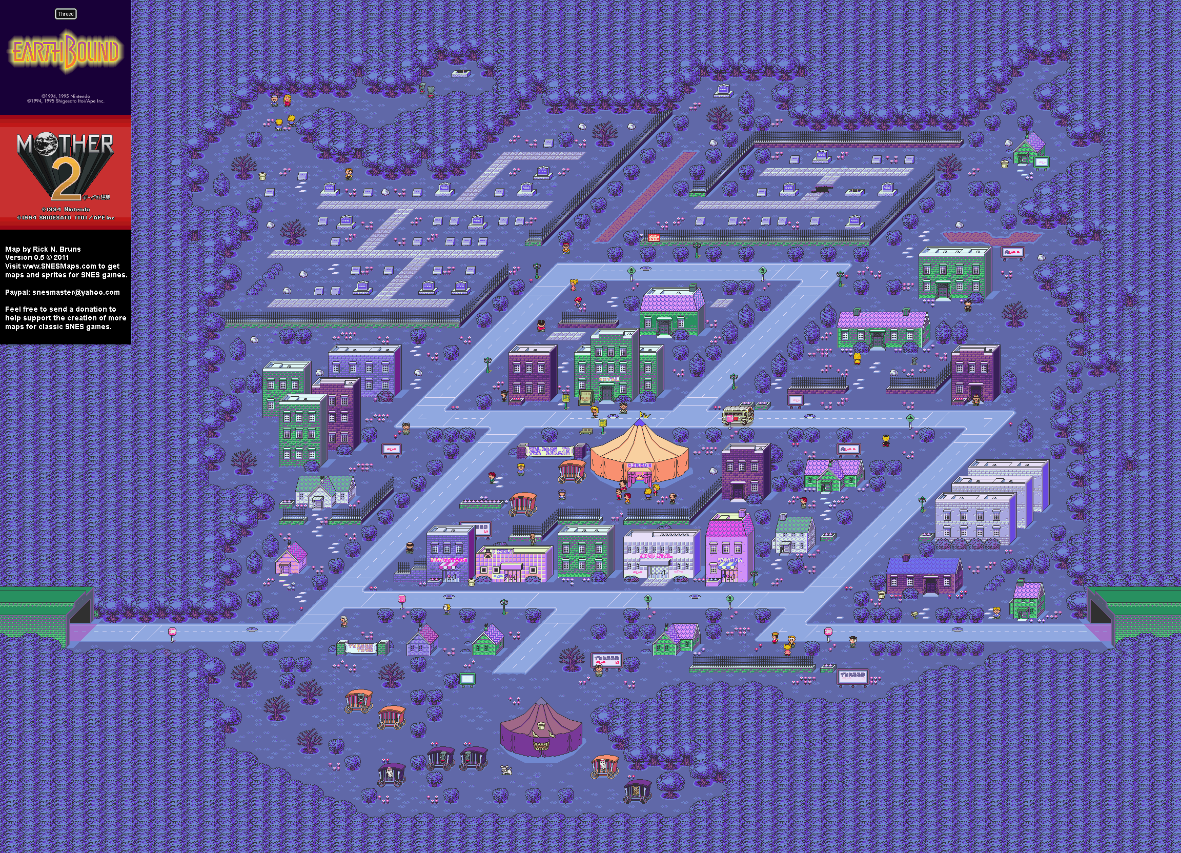 EarthBound (Mother 2) - Threed Super Nintendo SNES Map
