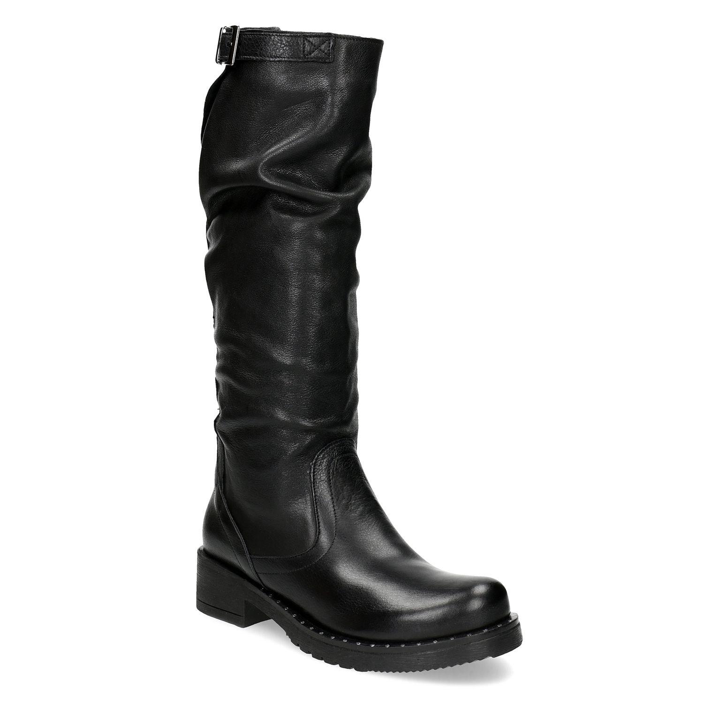 b1e2882a67 Baťa Kožené čierne čižmy s riasením - Všetky topánky