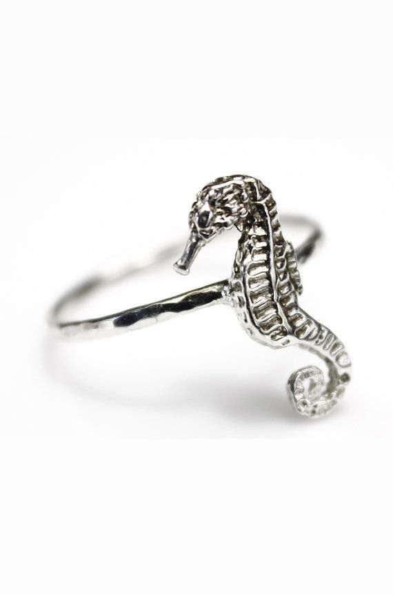 Nautical Sterling Silver Seahorse Stacking Ring Animal Jewelry