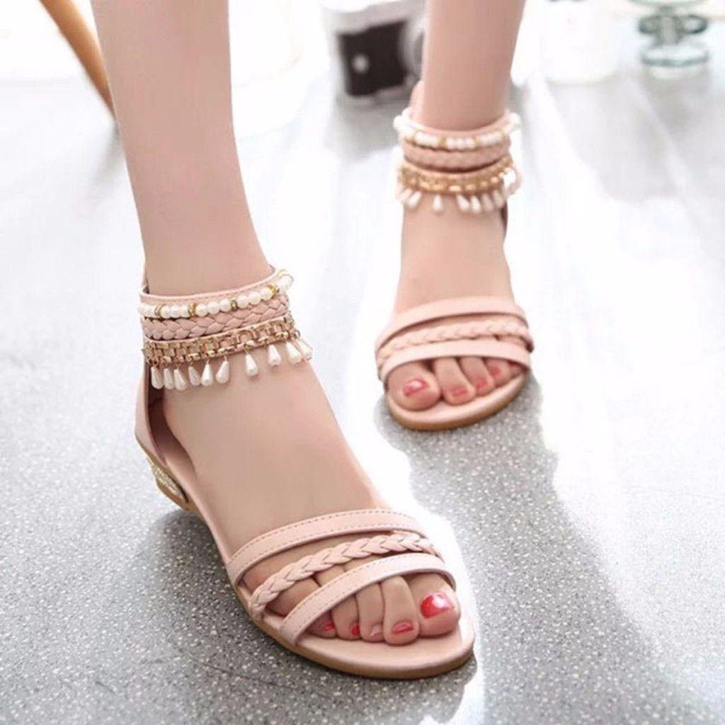 Summer Beads Covered Heel Women Flat Sandals Daisy Dress For Less Women S Dresses Accessories Bohemian Shoes Womens Sandals Flat Women Shoes