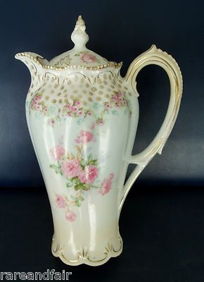 R s Prussia Chocolate Pot Floral Design Free Shipping   eBay