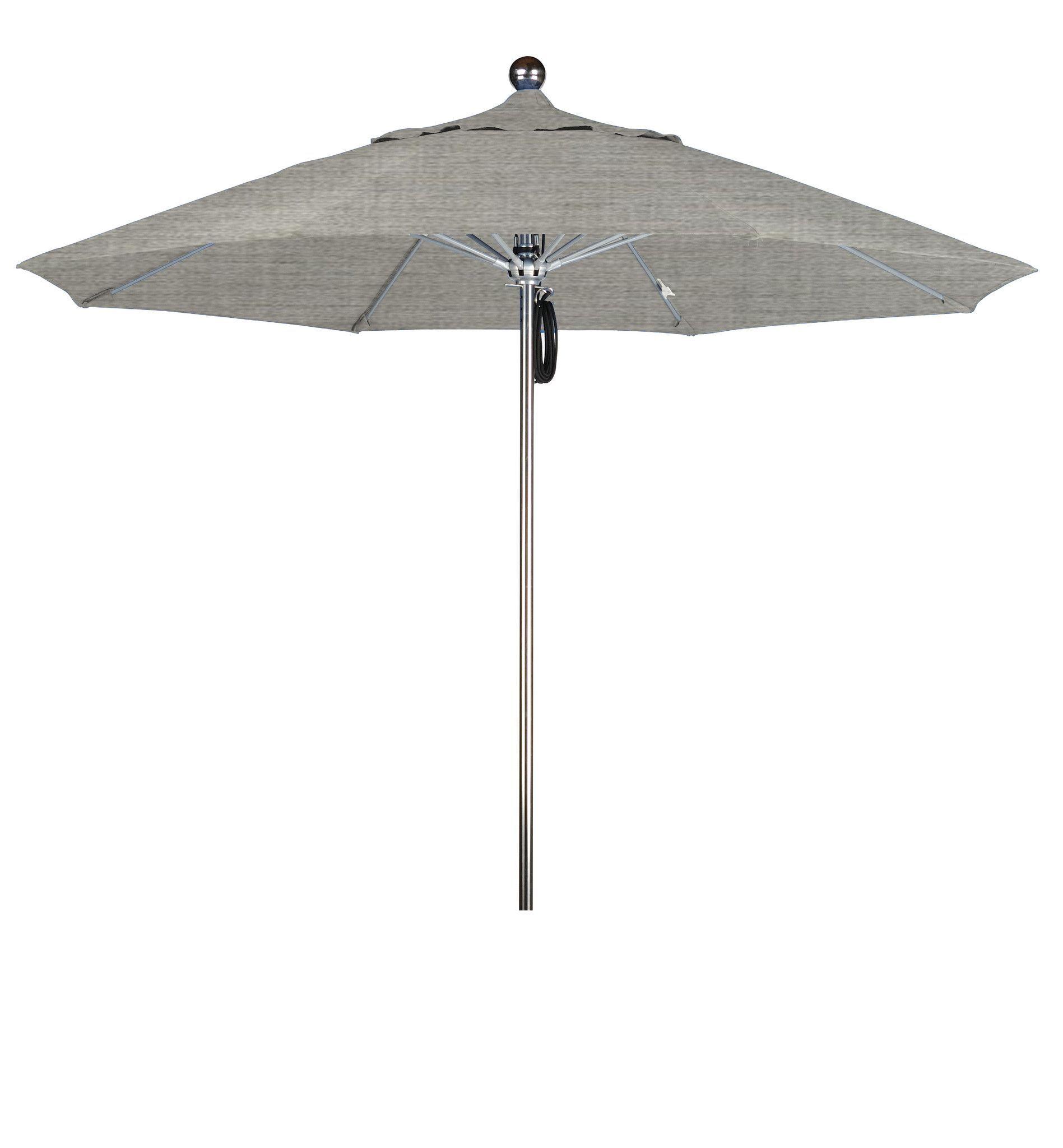 Eclipse Collection 9'SSteel SinglePole FGlass Ribs M Umbrella SV Anodized/Sunbrella/Granite