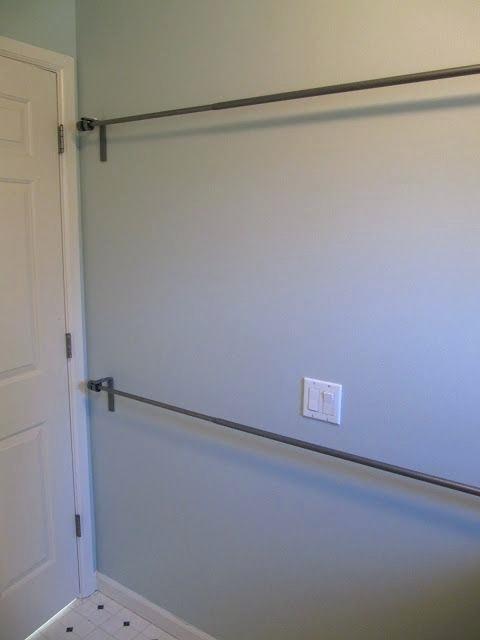 Laundry Room Clothes Drying Rod Use Stacked Curtain Rods In Laundry Room To Hang Dry Clothes Almacenamiento De Despensa Renovación De Lavanderías Orden En Casa