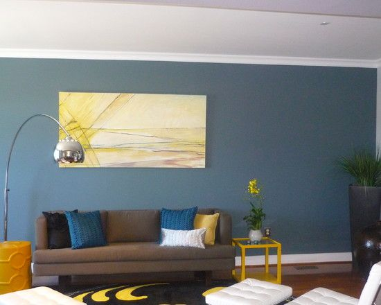 Grey Living Room With Blue Accents wall color: living room accent wall design, pictures, remodel
