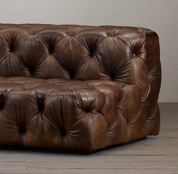 9 soho tufted leather armless sofa