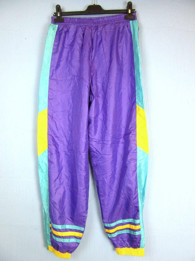 "VINTAGE RETRO purple TRACKY BOTTOMS 80's 90's w30-32"" L30'' tb33"