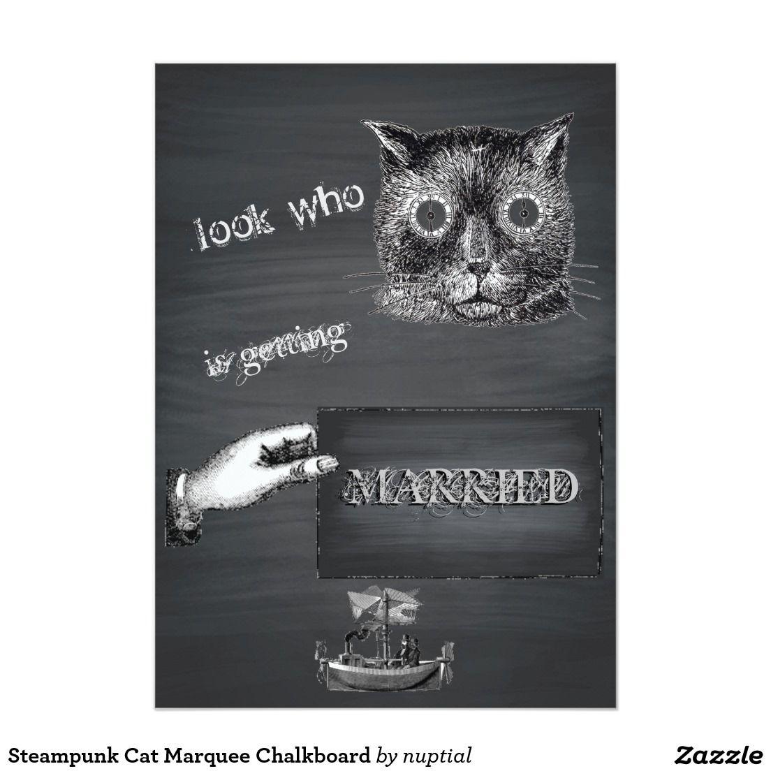 Steampunk Cat Marquee Chalkboard