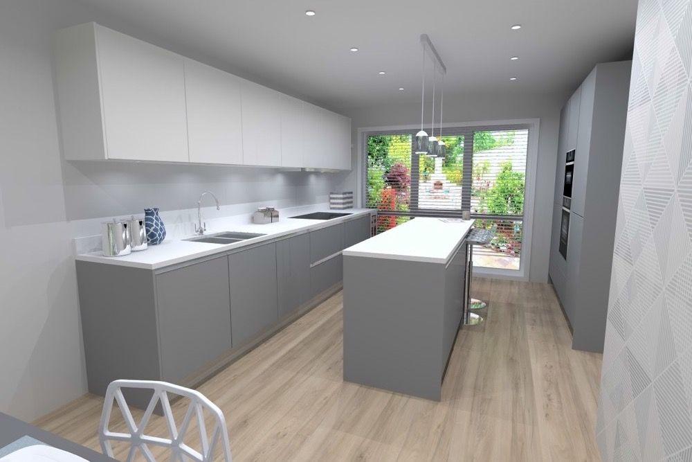Best Pearl Grey White Lacquer Laminate Ultra Matt Kitchen 400 x 300