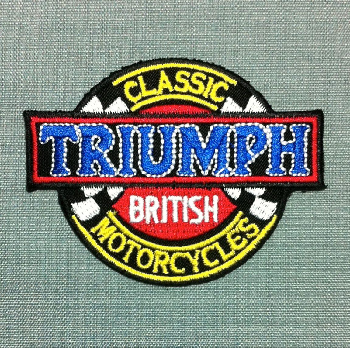 patch triumph moto anglaise britannique biker chopper courses racing ecusson brod applique badge thermocollant application