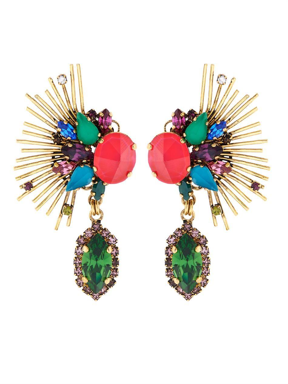 ERICKSON BEAMON Telepathic crystal & gold-plated earrings