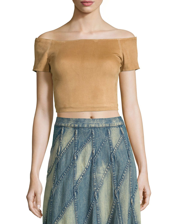 17d3417d0cb Gracelyn Suede Off-the-Shoulder Cropped Top, Tan | Shop the look ...