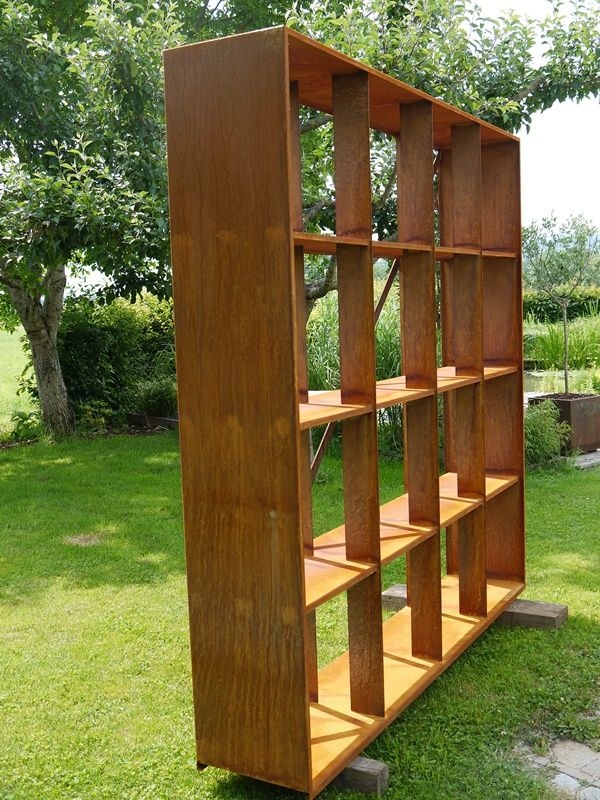 Holzregal Corten Steel Wood Rack Sculpture Pinterest