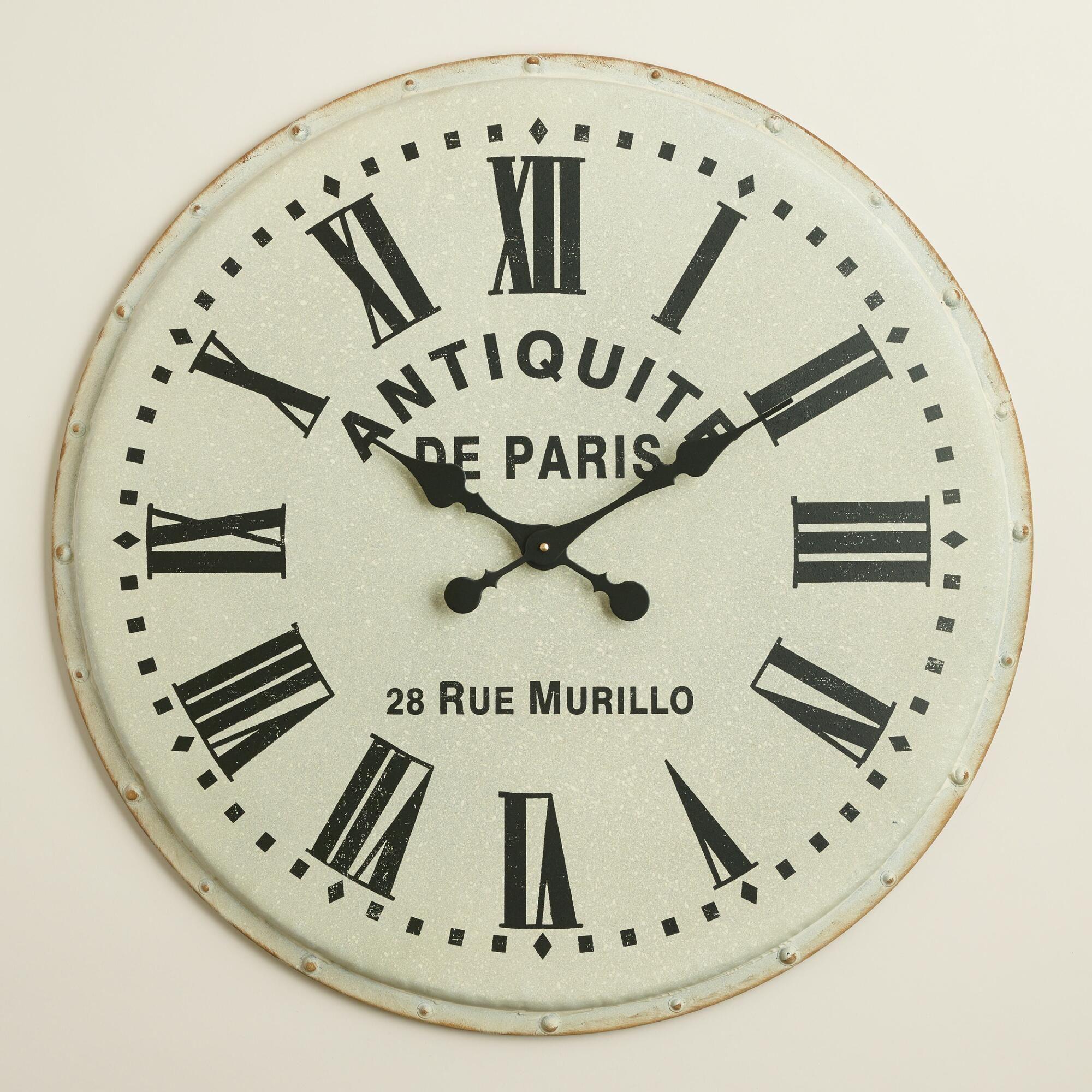 White Metal Addy Wall Clock Paris